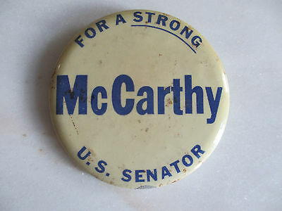 """""""For A Strong""""  US Senator - McCarthy 3"""" Pinback button Blue on white"""