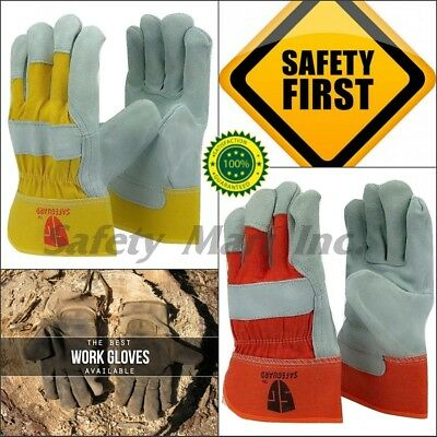 Safet Gloves 10 Inch Unibody Cow Split Leather Work Driver Garden Gloves 3 Pairs
