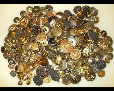 Over 200 Vintage Brass Buttons, Nice, Some Military