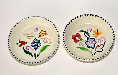 2 x Poole Pottery hand decorated Pin Dishes
