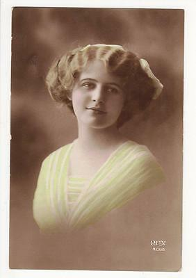 Vintage Rp Postcard,glamourous Woman,lovely Dress,hand Tinted,rex #4608,1916