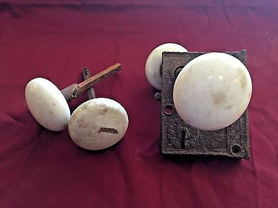 Vintage Antique White Porcelain Door Knob w/ Door Lock and Back-plate Set of 2