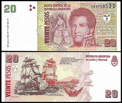 Argentina 20 PESOS Serie D ND 2013 P 355 UNC auction !