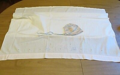 Vintage Embroidered Baby Sheet and knit Baby Bonnet