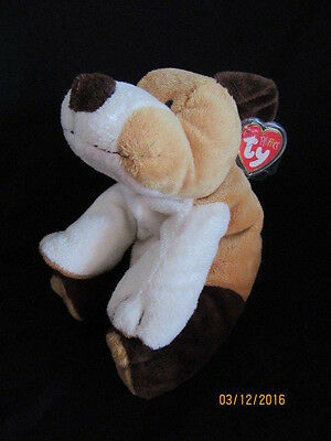 Ty Beanie Pluffies Whiffer - Brown And Tan Dog - Retired With Tag