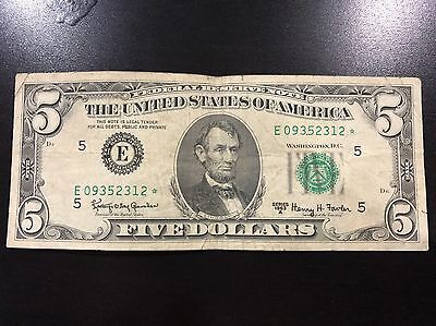 Vintage $5 1963 United States Note Five Dollar Bill Red Seal Abraham Lincoln
