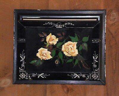 Antique Victorian Ebonized Eastlake Wall Hanging Mail Holder Hand Painted Roses