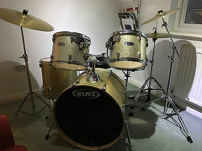 Full Size Silver Mapex Drum Kit In Great Condition.