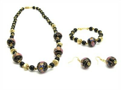 Beautiful Black Wedding Cake Murano Glass Beaded Necklace Set! Made in Italy!