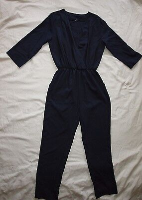 12 14 Vintage Navy Blue Jumpsuit V-neck Catsuit Trouser Suit 3/4 Sleeve Sexy 70s