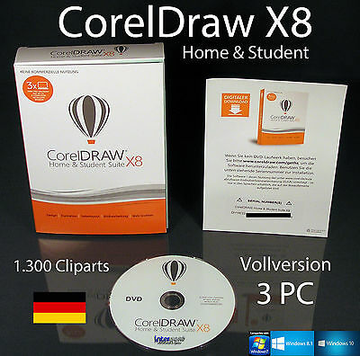 CorelDraw Graphic X8 Home & Student with 3 PC licences