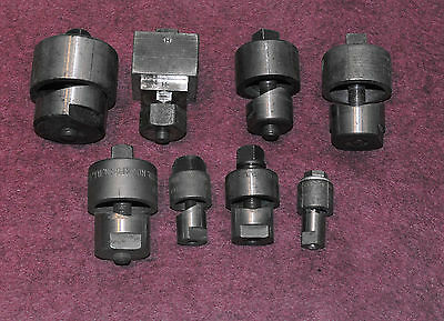 Set of seven (7) Greenlee punches, nice condition, each with draw stud