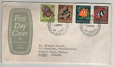 Australia First Day Cover Decimal Dollar Stamps 14 Feb 1966 Sea Creatures SG388