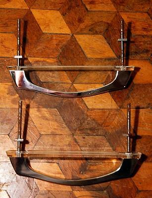 2x Retro Chrome Drawer Cupboard Handles Perspex Backplates Vintage 50s French A