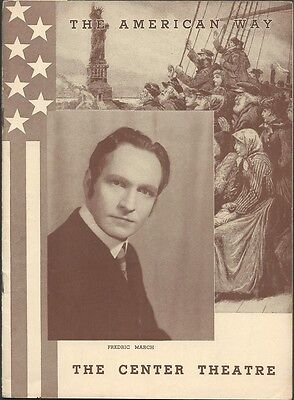"""FREDRIC MARCH """"THE AMERICAN WAY"""" MOSS HART. Center Theatre, April 24, 1939"""