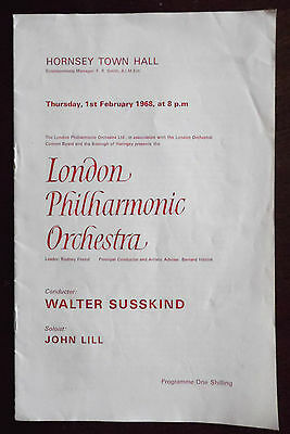 London Philharmonic Orchestra Concert, Hornsey Town Hall 1st Feb 1968