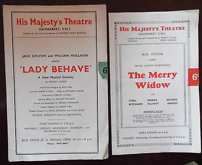 His Majesty's Theatre Programmes x 2,The Merry Widow & Lady Behave from the 40s