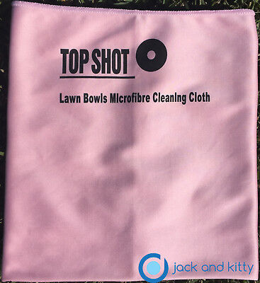 Brand New Pink Microfibre Lawn Bowls Top Shot Polish Polishing Drying Bowl Cloth