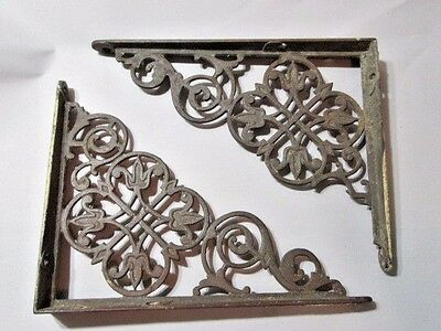 Vintage Wrought Iron Carved Tulip Pattern Shelf Brackets Decorative Metal