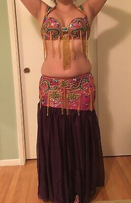 Professional Belly dance costume outfit bra skirt pink purple blue gold