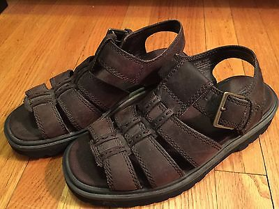 TIMBERLAND Mens Size 8 Brown Leather Casual Sandals Buckle Strap, Rugged Soles