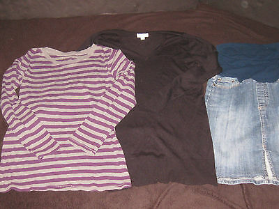 Maternity Size Small Top Sweater Jean Skirt Fall Winter Clothes Lot
