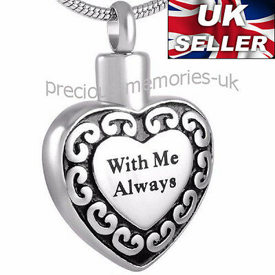 Heart Necklace - Funeral Cremation Ashes Jewellery - Memorial Ash Urn Pendant