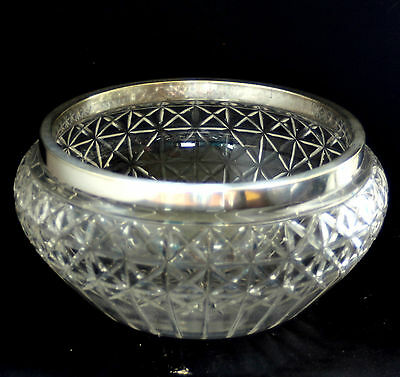 Vintage ~ Pressed Glass ~ Fruit Bowl with Plated Rim