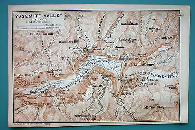 1899 MAP by Baedeker - USA California Yosemite Valley +Trails