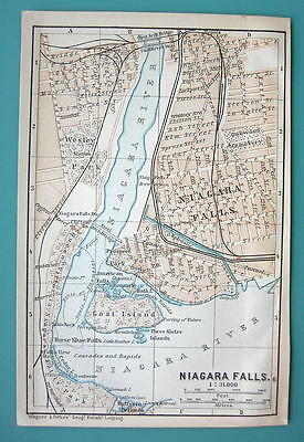 1899 MAP by Baedeker - USA Niagara Falls + Railways