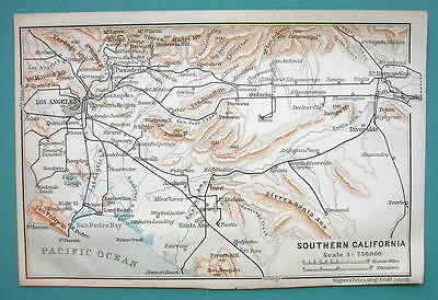 1899 MAP by Baedeker - USA South California Los Angeles & Environs
