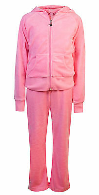 Childrens Velour Tracksuits Girls Kids Full Set Hoody Joggers Pink Age 13