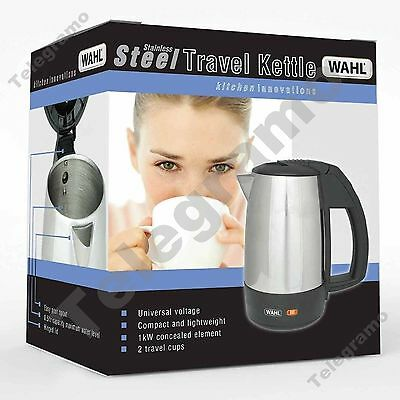 New Wahl ZX643 0.5 Litre 1Kw Stainless Steel Travel Kettle With 2 Travel Cups