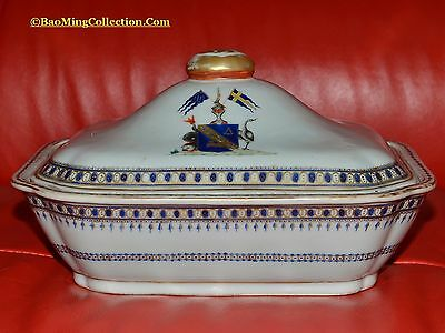 Chinese Qing 18thC Qianlong Armorial Export Porcelain Tureen for Europe-Sweden