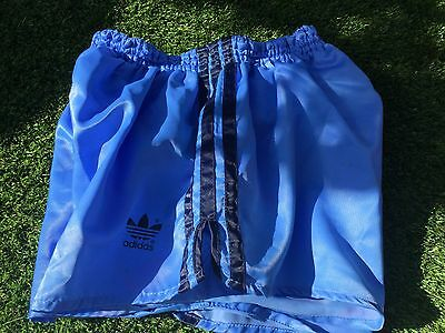 Great Vintage Condition Sky Blue Adidas Shiny Satin Sprinter Shorts D6 Medium