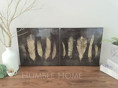 Set of 2 Feather Wall Lacquer Print/Black/Ready to Hang Art/Neutrals