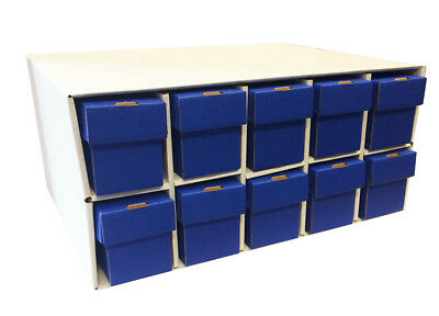 New & Improved Card Penthouse House Storage with 10 Vertical 802 Blue Boxes