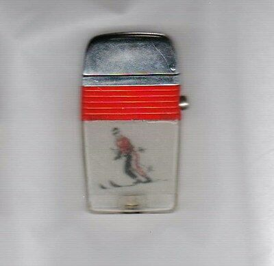VU-LIGHTER by SCRIPTO See through Skier Red Band Used Made in USA in 1950s
