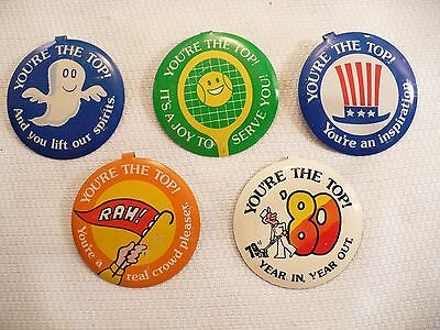 Set of 5 Vintage Bank of America B of A Advertising You're the Top Tab Buttons