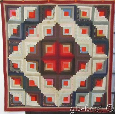 Great Pattern! c 1890s PA Log Cabin Antique Quilt CENTER MEDALLION Red