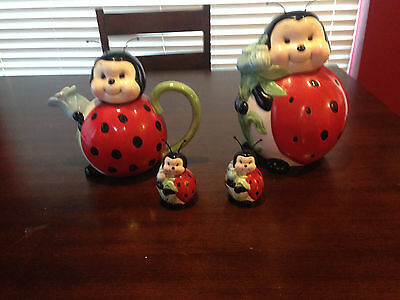 lady bug collectible porcelain cookie jar, tea pot and salt and pepper shakers