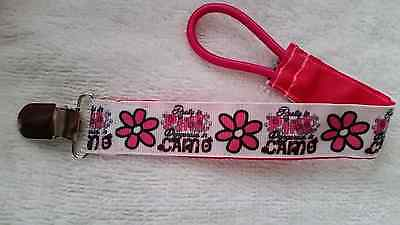 Baby Soother/Pacifier Holder w/Metal Clip/Pink For Girls/New