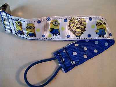 Baby Soother/Pacifier Holder w/Metal Clip/Minions/Brand New