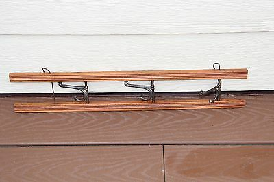 Vintage Wood Wall Hanging Rack w/ 3 iron hooks, swivel