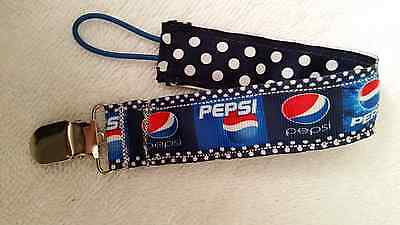 Baby Soother/Pacifier Holder w/Metal Clip/Pepsi/New