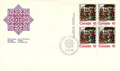 Canada #698 10¢ Christmas Nativity Ll Inscription Block First Day Cover
