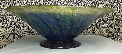 Impressive Scottish Monart Footed Bowl Shape 'BI' Blue Swirl & Gold Aventurine