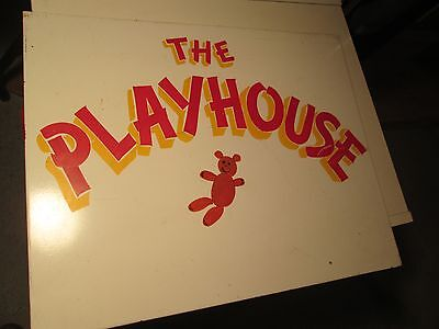 Vintage Solid Metal Amusement Park Sign The Playhouse Double Sided Man Cave