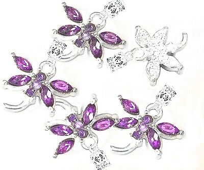 5 Silver Plated Dragonfly Purple Crystal Wings European Charms