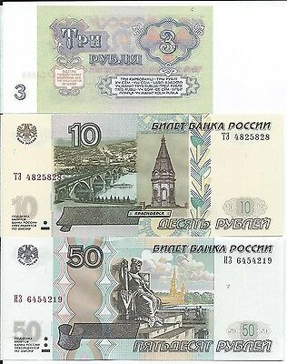 Russia 3, 10, 50, 100, 1000, 5000  Rubles Uncirculated Banknotes